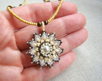 Beadwork Pearl Snowflake Medallion Pendant Necklace  Beaded Necklace  Seed Beads & Swarovski Crystal  White Ivory Copper Cream Mandala