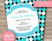Printable Polka Dot Birthday Party Invitation, Polka Dot Birthday Party Invite, Polka Dot Party Invite - Modern Dots in Black, Aqua, Teal