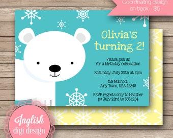 Printable Polar Bear Birthday Party Invitation, Polar Bear Birthday Party Invite, Polar Bear Party Invite - Polar Bear in Teal, Yellow