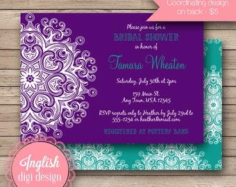 Medallion Bridal Shower Invitation, Printable Bridal Shower Invitation, Medallion Bridal Shower Invite - Floral Medallion in Purple, Teal