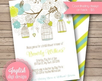 Whimsy Birdcages Bridal Shower Invite, Printable Birdcages Bridal Shower Invitation - Whimsy Birdcages in Lime and Shades of Blue