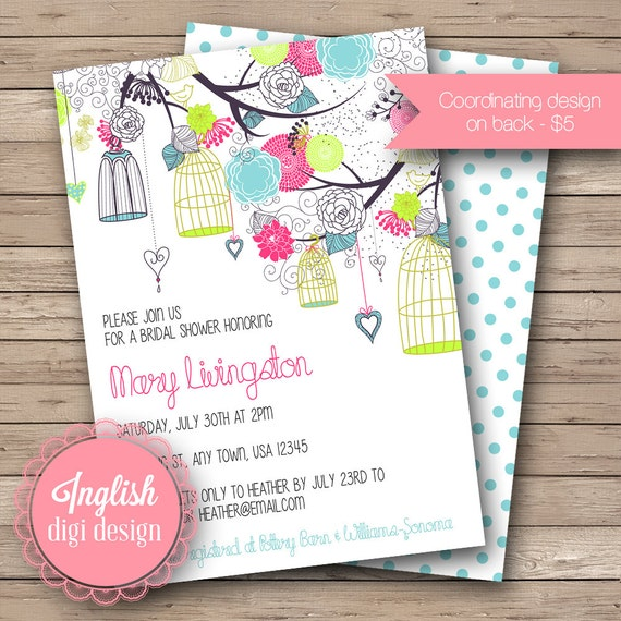 Bright Birdcages Bridal Shower Invite, Printable Birdcages Bridal Shower Invitation, Birdcages Bridal Shower in Fuchsia, Lime, Blue