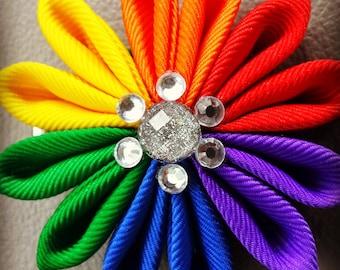 Rainbow flower hair clip