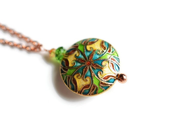 Cloisonné Necklace, Copper Colored Necklace, Swarovski Necklace, Green and Blue Necklace, Enamel Necklace