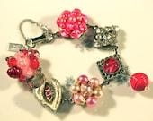 Bridesmaid Gift, Vintage Earring Bracelet, Recycled, Cluster Earrings, Hot Pink, Fuchsia, Silver, Jennifer Jones, OOAK - Wallflower No More