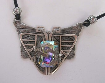 Art Deco Moth with Silver faries and AB Crystal, Victorian, Steampunk Necklace on leather cord