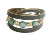 Square Robin blue mother of pearl shell beads and white Turquoise gemstone leather bracelet