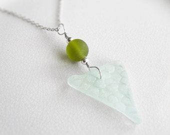 Seafoam Beach Glass Necklace, Authentic Chesapeake Bay Sea Glass Jewelry, Green Recycled Glass Pendant