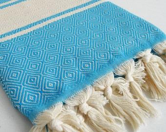 SALE 50% OFF Diamond Bathstyle Turkish BATH Towel Peshtemal - Crystal Blue - White - Bath, Beach, Spa, Swim, Pool Towels