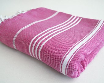 SALE 50 OFF/ Classic Blanket / Fushia / Beach blanket, Picnic blanket, Sofa throw, Tablecloth, Bedcover
