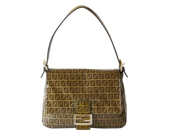 Fendi Mama Zucchino Signature Brown Coated Jaquard Shoulder Bag Made in Italy