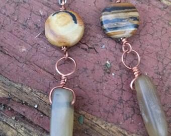 Jasper and horn earrings