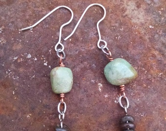 Turquoise dark sea green and bone earrings