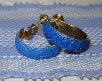 Vintage Clip On Hoops With Blue Enamel