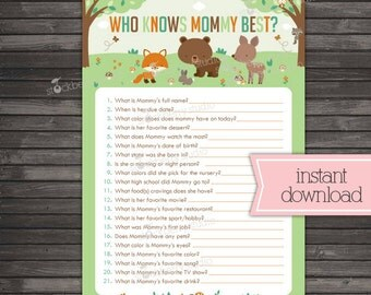 Woodland Baby Shower Who Knows Mommy's Best Game Printable - Instant Download - Forest Animals - Baby Shower Activities - Baby Shower Games