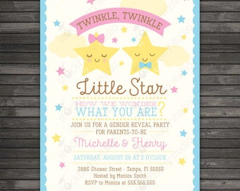 Twinkle Twinkle Little Star Gender Reveal Invitation Printable - Baby Shower Invite - Gender Reveal Party - Neutral Gender - Twins