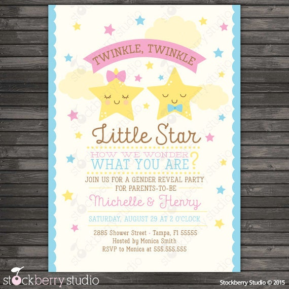 Twinkle Twinkle Little Star Gender Reveal Invitation Printable