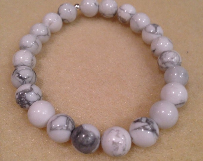 White Howlite 8mm Round Stretch Bead Bracelet with Sterling Silver Accent