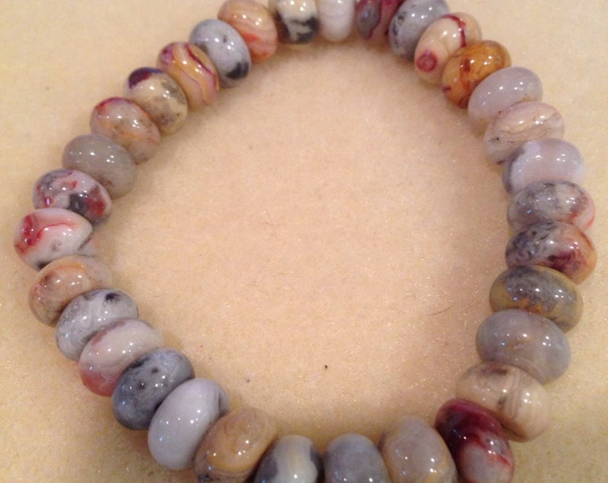 Crazy Lace Agate 8mm Rondelle Bead Bracelet with Sterling Silver Accent