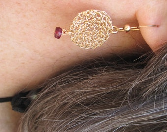 Earrings Goldfield Crochet with Raspberry Faceted Ruby