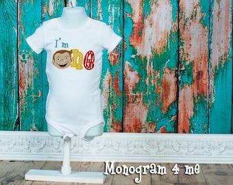 1'm 1 Curious George birthday shirt, monkey birthday, monkey