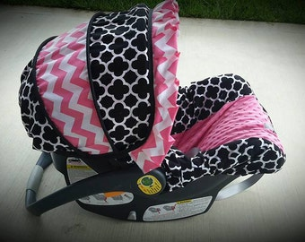 Quatrefoil and hot pink chevron ruffle and accents infant car seat cover - by Baby Seat Covers By Jill - always comes with free strap covers