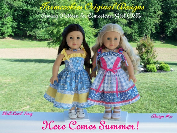 """PDF Sewing Pattern / Summer Sundress / Sewing Pattern for 18"""" Dolls Like American Girl"""