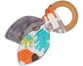 30% off sale: Natural Organic Maple Wooden Teething Ring Toy - Bunny Ears in Elephant Fabric and gray Minky - FREE SHIPPING