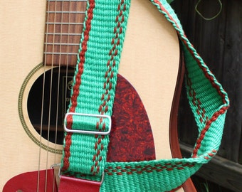 Adjustable Guitar Strap - Green and marron - Handwoven