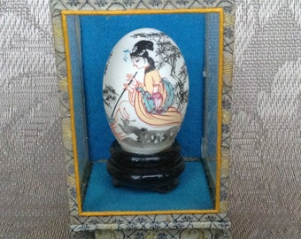 Vintage Hand Painted Chinese Egg in Glass Display Case, Geisha