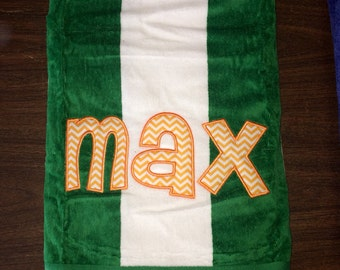 Personalized applique name monogram beach towel green and white cabana stripe