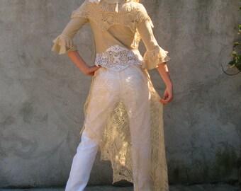 Weddings / Dresses  Handmade Vintage Gowns  OOak Alternative Boho wedding dress/ TUNIC upcycled dress