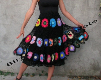 Gypsy skirt Transparent Colorful flowers on black background, boho shabby Chic, retro skirt, gypsy skirt,  S/M with a big bow...full circle