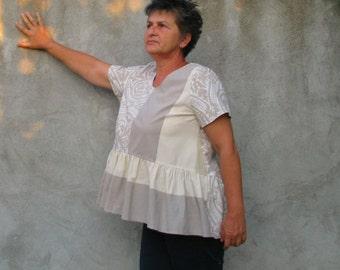 blouse top shirt lagenlook tunic Cotton fabric Plus Size dress XXL