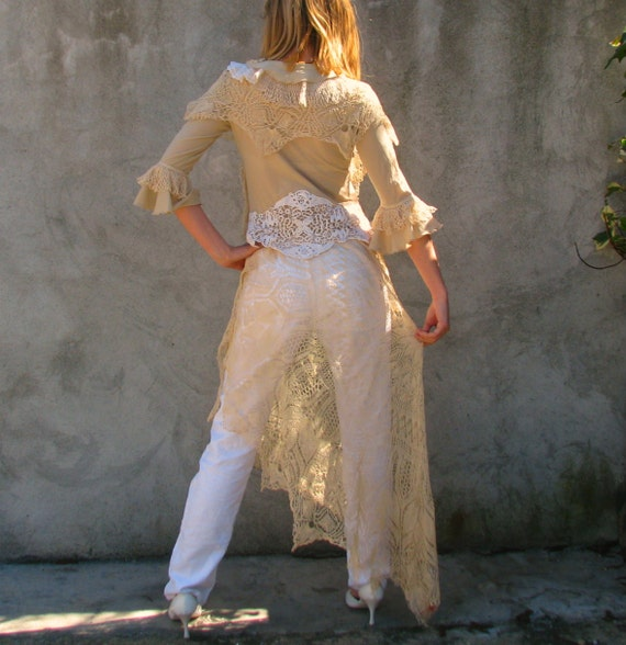 Weddings / Dresses  Handmade Vintage Gowns  OOak Alternative Boho wedding dress/ TUNIC upcycled dress