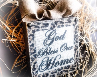 God Bless Our Home , Sign , Burlap , Leopard Print , Wood Block
