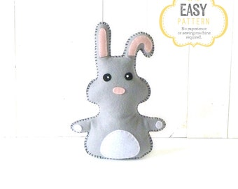 Simple Bunny Sewing Pattern, Rabbit Sewing Pattern, Felt Bunny Rabbit Pattern, Bunny Softie, Rabbit Plushie, Stuffed Animal