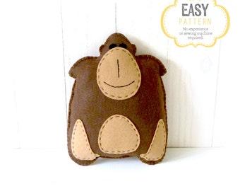 Gorilla Stuffed Animal Sewing Pattern, Plush Gorilla Pattern, Felt Gorilla Sewing Pattern, Gorilla Softie, Gorilla Stuffie