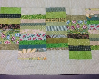 Green Quilted Table Runner, Patchwork Table Mat, Quiltsy Handmade