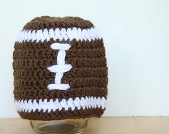 Football Hat, crochet, child football hat, teen football hat, brown and white, 5t to Preteen