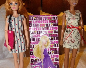 OVERSTOCK SALE - 2 outfits, 1 purse, 1 pair of shoes and a gift bag for Fashion Dolls - bgs10