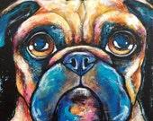 Pug Face Original Painting 6x6