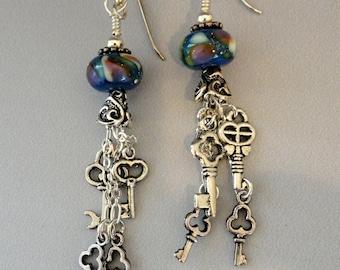 Lampwork Earrings, Key Earrings, Long Dangles, Key Charms, Long Blue Earrings, Boho, Emerald City Glass, Marcie Page