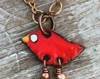 Kiln fired RED Enamel itty bitty birdie Necklace