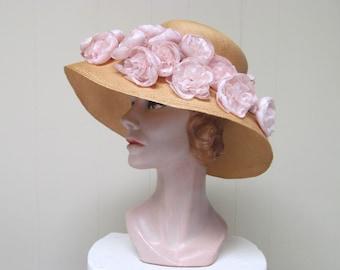 Vintage 1960s Hat / 60s Wide Brimmed Natural Straw Silk Peonies Sun Hat / Joseph Magnin