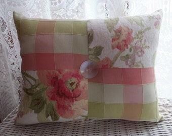 Shabby Cottage Chic Quilted Pink And Green Floral And Plaid Tufted Pillow