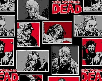 The Walking Dead Skybound Zombie Characters Cotton Fabric, 1 yard