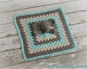 Elephant Lovey, Yellow and Gray Elephant Security Blanket, Blankie, MADE TO ORDER