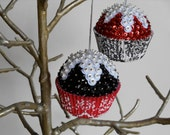 SALE Perfect Pairs Series -  Red and Black Damask Sequin Beaded Ornaments