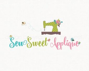 Sewing Machine Logo Design Sewing Logo Design Fabric Shop Logo Seamstress Logo Premade Applique Logo Graphic Design Bespoke Logo Design
